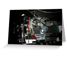 A beautiful sight of chrome. metal, and rubber ..Chevy engine (photo) Greeting Card