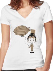 Little Inventor Flying His Airship Women's Fitted V-Neck T-Shirt