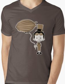 Little Inventor Flying His Airship Mens V-Neck T-Shirt