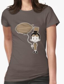 Little Inventor Flying His Airship Womens Fitted T-Shirt