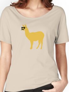 Funny llama with sunglasses and mustache Women's Relaxed Fit T-Shirt
