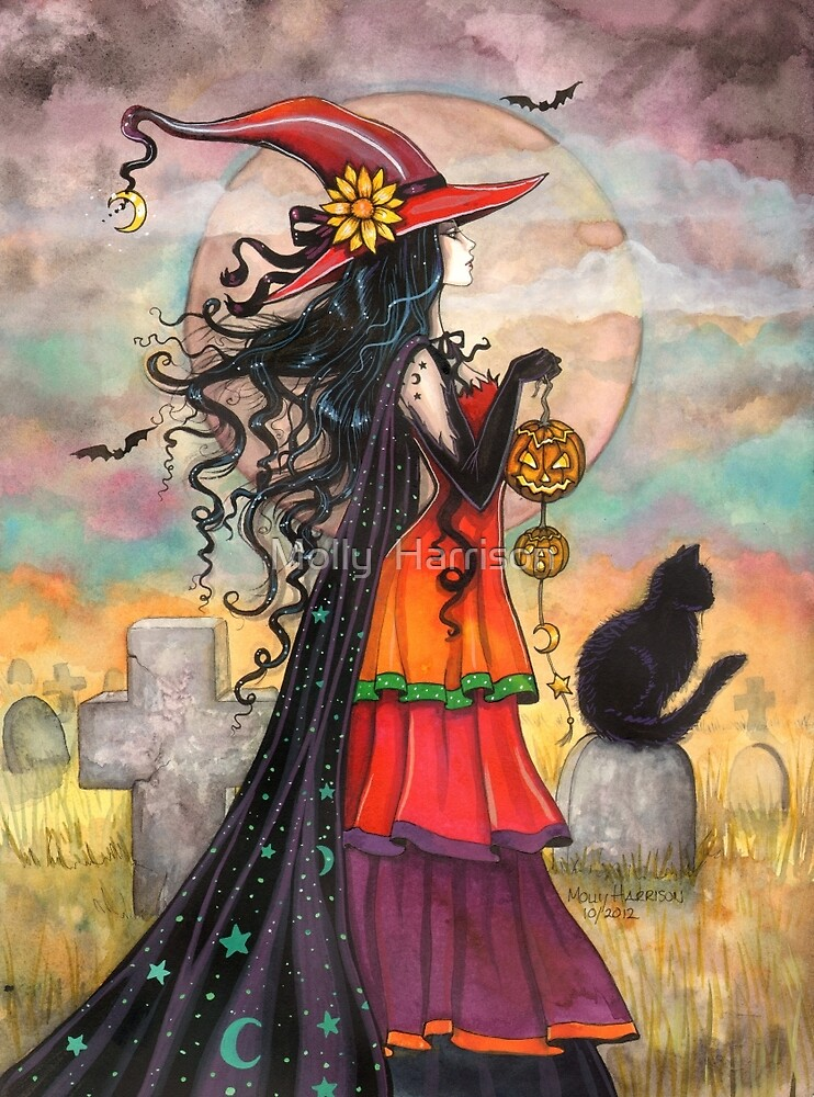 Quot Witch Way Halloween Witch And Black Cat Fantasy Art Quot By