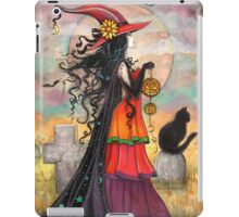 Witch Way Halloween Witch and Black Cat Fantasy Art iPad Case/Skin