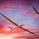 Three Gliders Over The Devil's Dyke At Sunset by Chris Lord