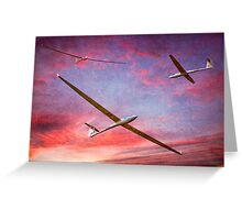 Three Gliders Over The Devil's Dyke At Sunset Greeting Card
