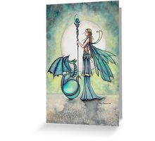 Aquamarine Dragon Fairy Dragon Art by Molly Harrison Greeting Card
