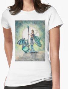 Aquamarine Dragon Fairy Dragon Art by Molly Harrison Womens Fitted T-Shirt