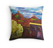 Old building, Kyneton, in red  Throw Pillow