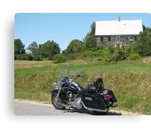 Motorcycle and Old House Canvas Print