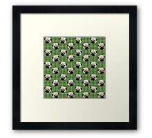 Pugs on Blue and Green Plaid Framed Print