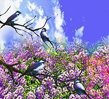 Blue Birds and a Summer Day by Saundra Myles