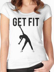 Get Fit Exercise Motivation Burpees Squats Lifting Women's Fitted Scoop T-Shirt