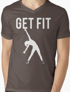 Get Fit Exercise Motivation Burpees Squats Lifting Mens V-Neck T-Shirt
