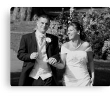 Wedding Day Happiness in Black & White Canvas Print