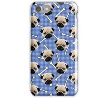 Pugs and Bones on Light Blue Background  iPhone Case/Skin