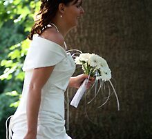 Bride Walking by Lynn Ede