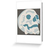 White and Blue Skull Greeting Card
