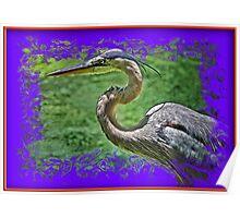 Gray Heron in 3D Poster