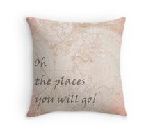 Pink World Map Inspirational Quote, back to school Throw Pillow