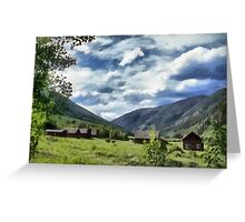 Mountain side ranch Greeting Card