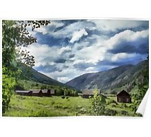 Mountain side ranch Poster