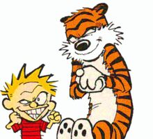 Calvin and Hobbes going loco Sticker