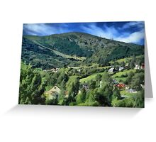 Mountain side village Greeting Card
