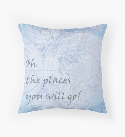 Blue World Map Inspirational Quote, back to school Throw Pillow