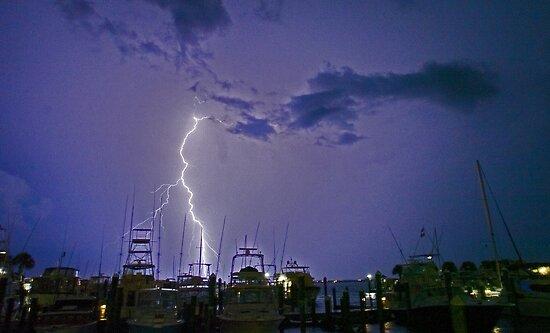 Marina lightning by Larry  Grayam