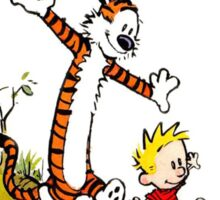 Calvin and Hobbes across the river Sticker