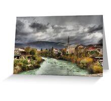 Quaint river town Greeting Card