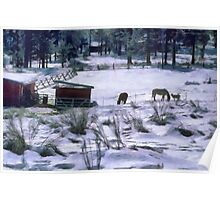 Ranch in winter Poster