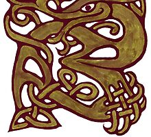 a celtic knotwork green dragon  by potty
