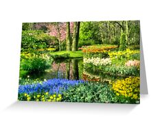 Stream and Flowers Greeting Card