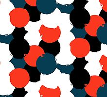 Bold geometric pattern with randomly colored circles by tukkki