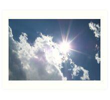 sun rays through the clouds Art Print