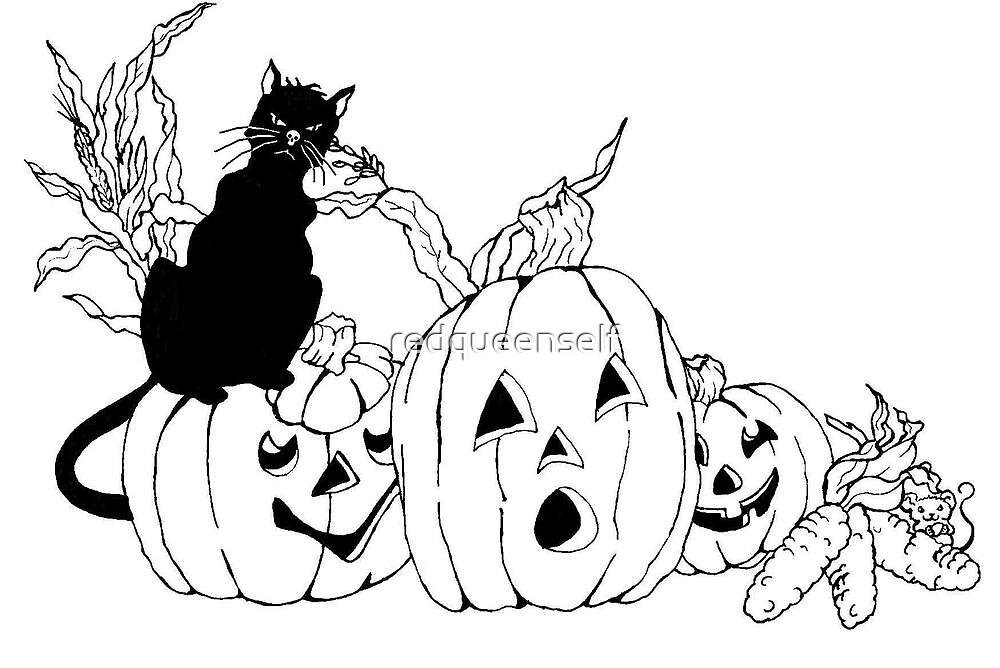 Black Cat Halloween by redqueenself