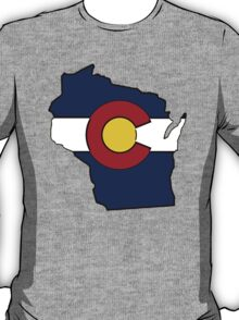 Wisconsin outline Colorado flag T-Shirt