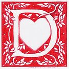 Red Heart Letter D by Donna Huntriss