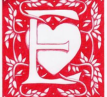 Red Heart Letter E by Donna Huntriss