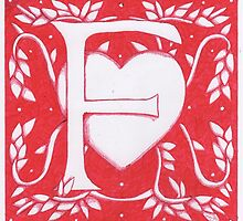 Red Heart Letter F by Donna Huntriss