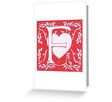 Red Heart Letter F Greeting Card