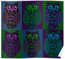 Blue, Green, & Purple Floral Owls Patchwork Poster