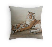 Tiger and cub Throw Pillow