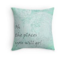 Mint Green World Map Inspirational Quote, back to school Throw Pillow