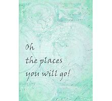 Mint Green World Map Inspirational Quote, back to school Photographic Print