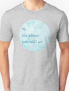 Bright Aqua Blue World Map Inspirational Quote, back to school T-Shirt