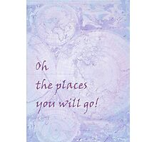Vivid Purple Lavender World Map Inspirational Quote, back to school Photographic Print