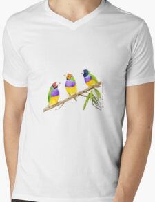 Gouldian Finch Bird citrus green Mens V-Neck T-Shirt