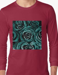 Rose Bouquet in Turquoise Long Sleeve T-Shirt